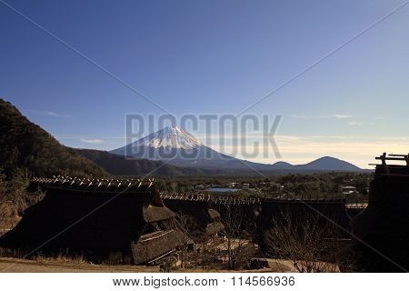 Mt. Fuji and Japanese thatched roof house in Saiko Yamanashi Japan