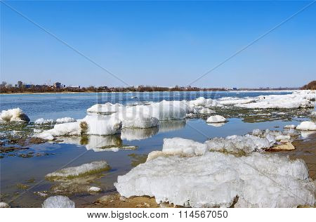 spring ice debacle on river closeup
