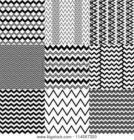 Set of 25 simple black and white patterns