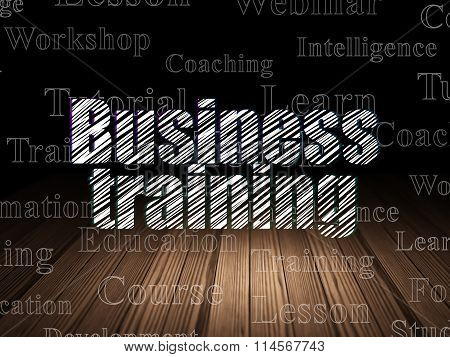 Learning concept: Business Training in grunge dark room