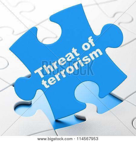 Politics concept: Threat Of Terrorism on puzzle background