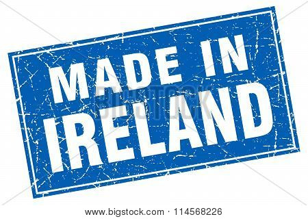 Ireland blue square grunge made in stamp