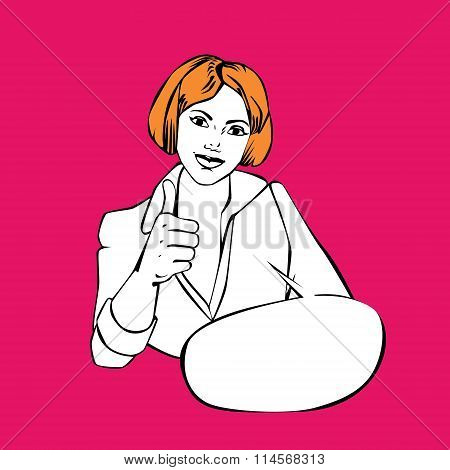 business woman thumbs up - idea retro comic style illustration