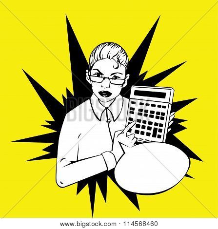 woman showing a calculator - idea retro comic style illustration