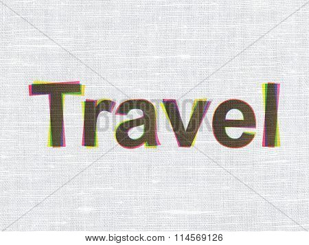 Holiday concept: Travel on fabric texture background