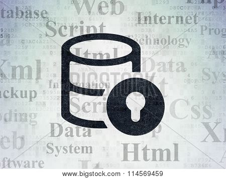 Software concept: Database With Lock on Digital Paper background