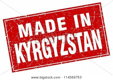 Kyrgyzstan red square grunge made in stamp
