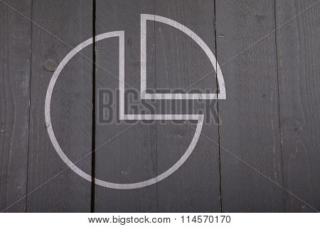 Illustration Of White Chart Pie On Dark Black Wooden Background