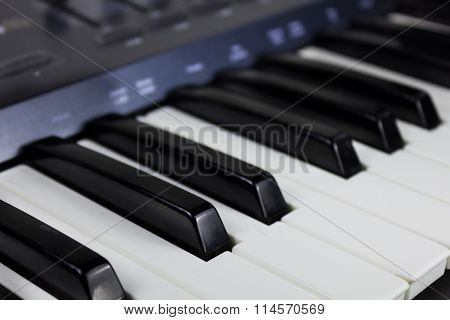 Synthesizer keyboard is very close