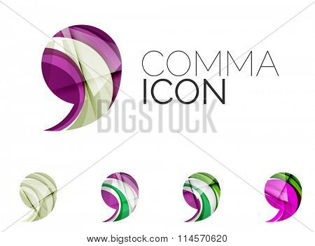 Set of abstract comma icon, business logotype concepts, clean modern geometric design