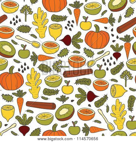 Vector healthy raw food background