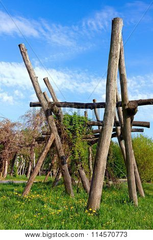 Wooden Construction In The Natural Playground For Climbing Or Play For Kids