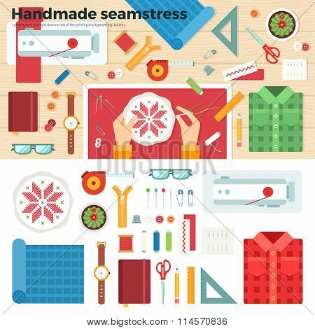 Tools for Handmade. Seamstress. Hobby Concept