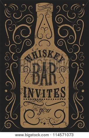 Typographic retro grunge design Whiskey Bar poster. Vintage label with stylized whiskey bottle. Vect