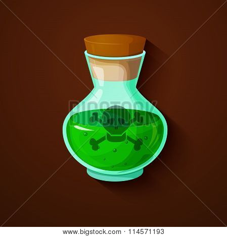 Glass bottle with a green toxic liquid
