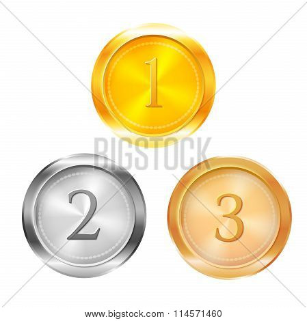Three prize medals, vector illustration