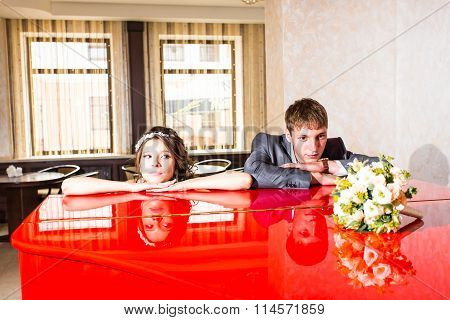 Wedding couple conflict, bad relationships. Bride and groom with angry expression.