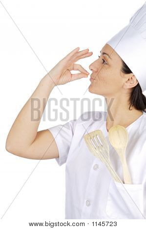 Happy Attractive Cook Woman Becoming Lean The Fingers