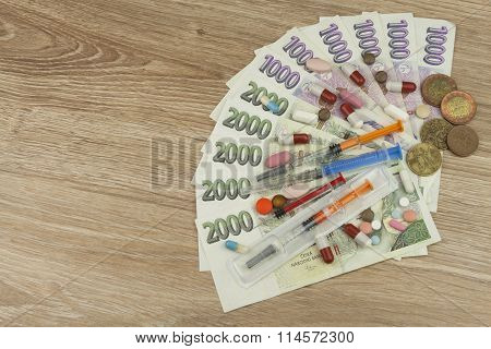 Health care financing. The concept of paying medical acts. Valid Czech banknotes and coins.
