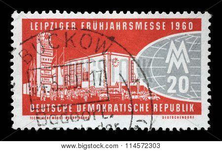 GDR - CIRCA 1960: a stamp printed in GDR shows Leipzig Fair, circa 1960