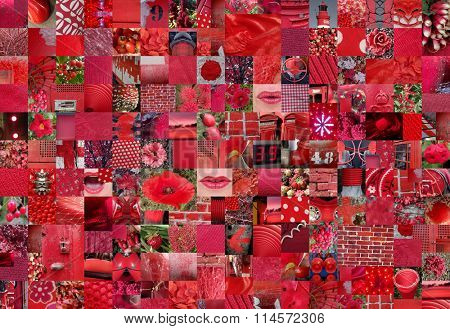 RED patchwork photo montage background