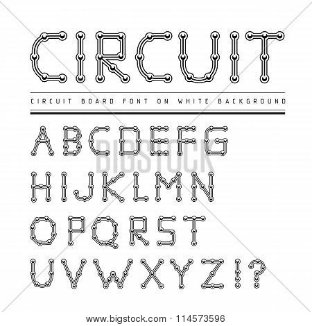 Font stylized track electronic circuit board.