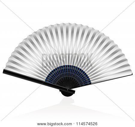 Folding Fan Silvery