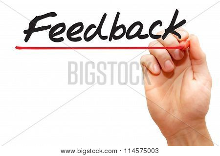 Hand Writing Feedback, Business Concept..