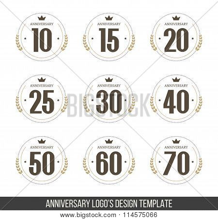 Vector set of anniversary signs, symbols. Ten,fifteen, twenty, twenty five, thirty, forty, fifty, si