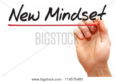 Hand Writing New Mindset, Business Concept..