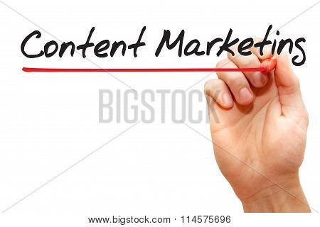 Hand Writing Content Marketing, Business Concept..