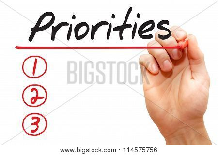 Hand Writing Priorities List, Business Concept..