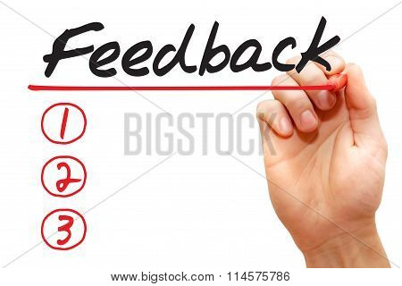 Hand Writing Feedback List, Business Concept..