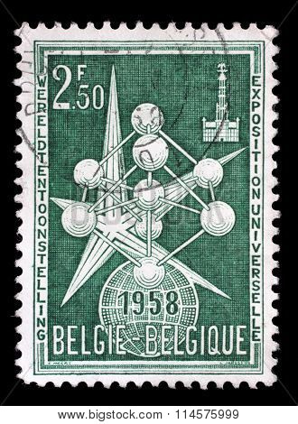 BELGIUM - CIRCA 1958: a stamp printed in the Belgium shows The Atom and Exposition Emblem, 1958 Worlds Fair at Brussels, circa 1958