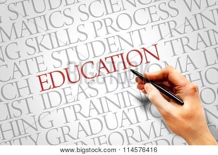 EDUCATION. Word business collage cloud, presentation background