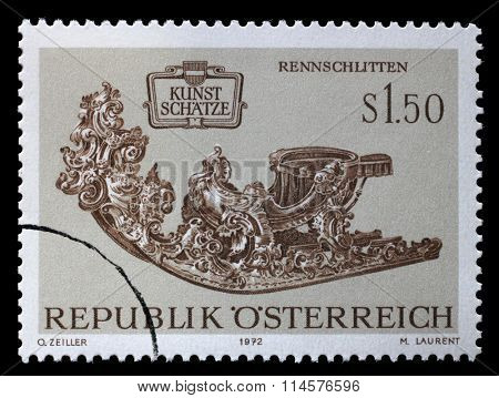 AUSTRIA - CIRCA 1972: a stamp printed in the Austria shows Racing Sleigh, Collection of Historic Coaches and Carriages in Schonbrunn Palace, circa 1972