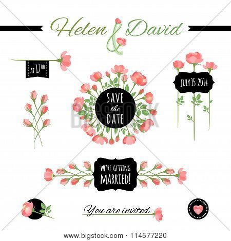 Set Of Floral Frames And Vignettes. Vector Illustration, Eps10.