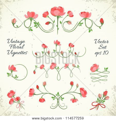 Set Of Vintage Floral Vignettes. Vector Illustration, Eps10.
