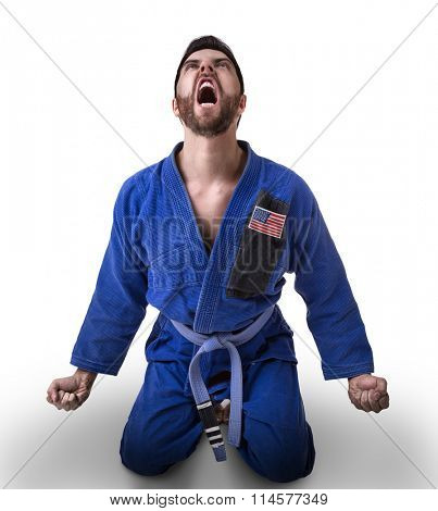 American judoka fighter isolated on white background