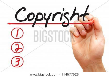 Hand Writing Copyright List, Business Concept..