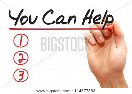 Hand Writing You Can Help List, Business Concept