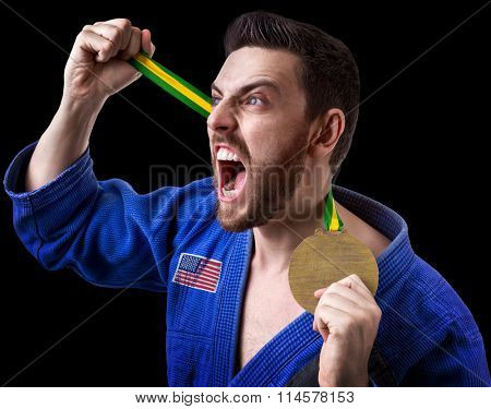 American judoka fighter isolated on black background