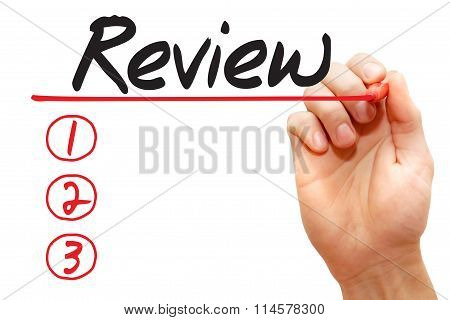 Hand Writing Review List, Business Concept