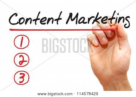 Hand Writing Content Marketing List, Business Concept