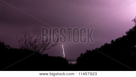 Purple sky lightning