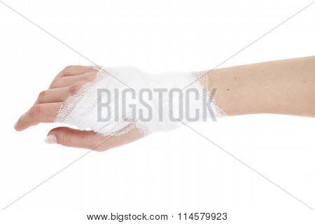 Injured Hand With Bandage, Isolated