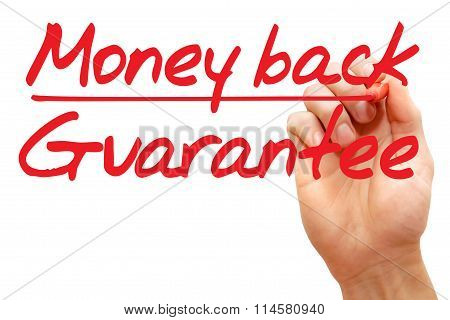 Hand Writing Money Back Guarantee, Business Concept..