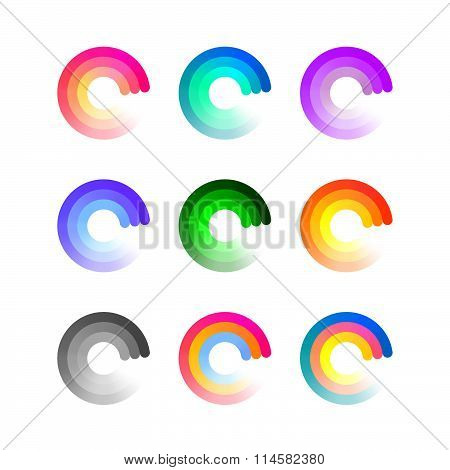 Round Icons Isolated on White