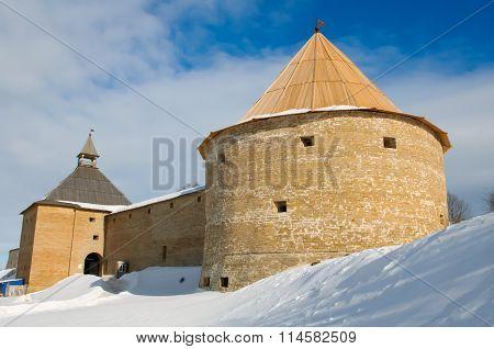 Fortress Staraya Ladoga of winter.