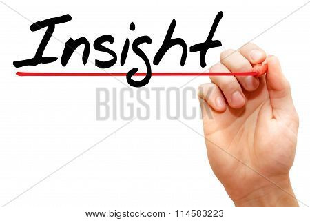 Hand Writing Insight, Business Concept